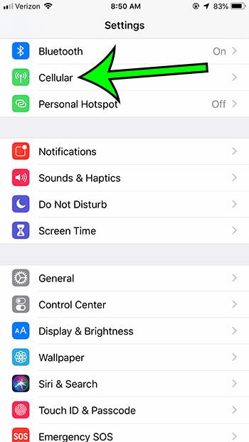 open iphone cellular menu