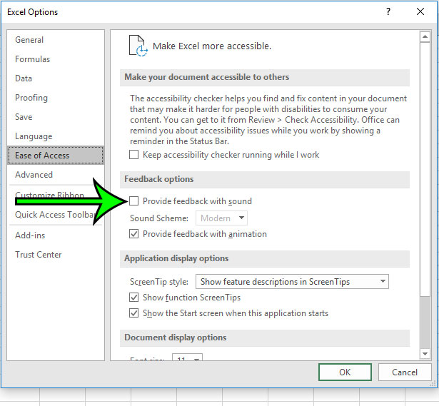 how to turn off feedback sounds in microsoft excel for 0ffice 365