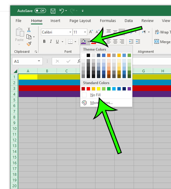 how to remove row shading in excel