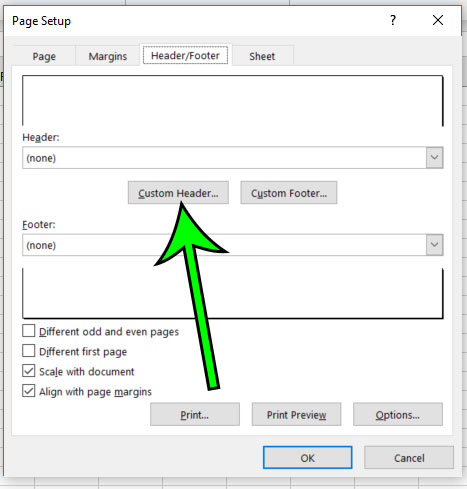 select the custom header or custom footer