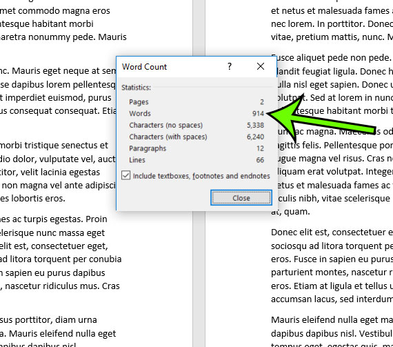 how to get a word count in microsot word