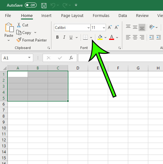 expand the borders dropdown menu in excel