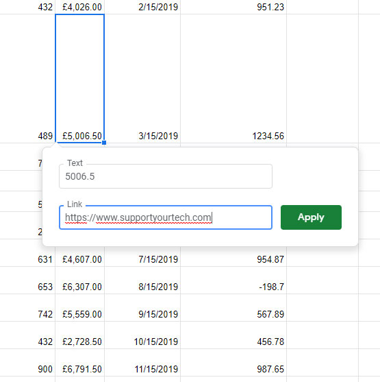 how to add a link to cell in Google Sheets