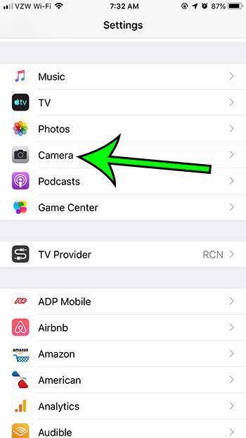 open iPhone Camera settings