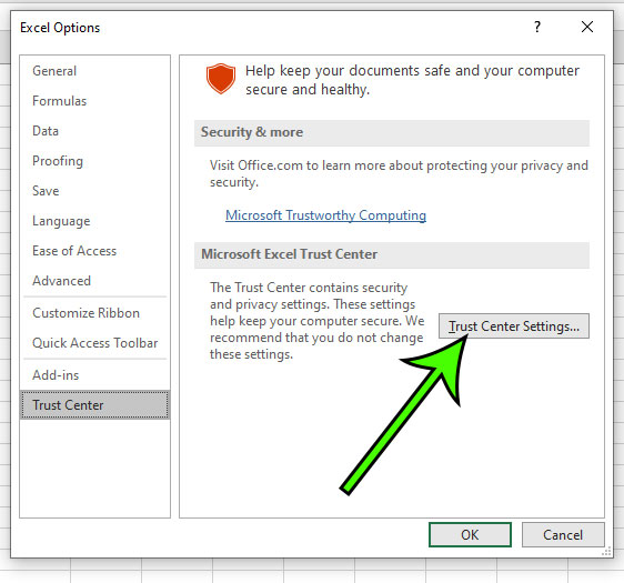 click the Trust Center Settings button