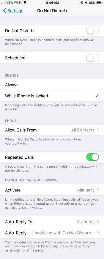 full iPhone Do Not Disturb menu