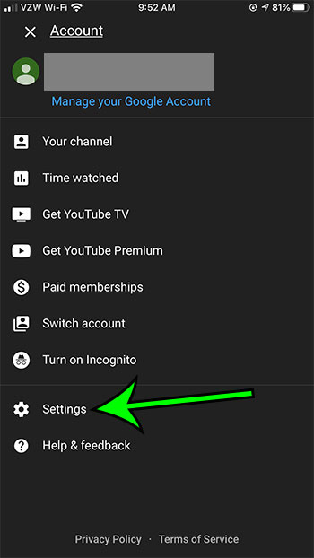 open the YouTube iPhone settings menu