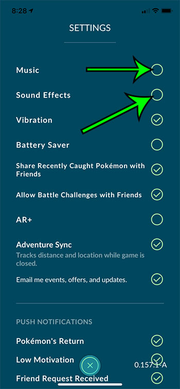 how to turn off sounds in Pokemon Go