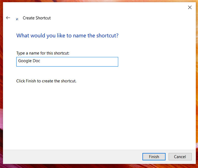 how to create a Google Docs shortcut in Windows 10