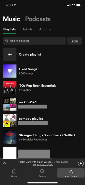 select the playlist to delete