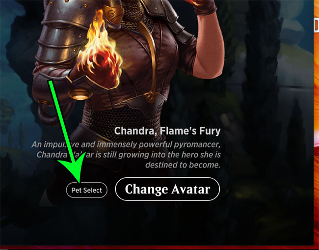 click the Pet Select button
