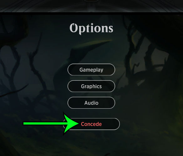 how to concede in MTG Arena