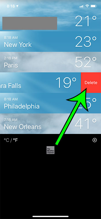 how to delete a city from the Weather app on an iPhone 11