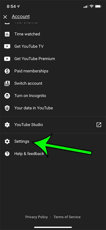 open the YouTube Settings menu