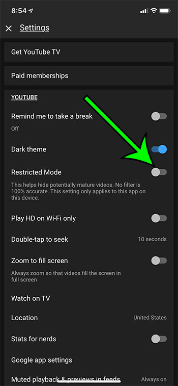 how to turn off Restricted Mode in YouTube on an iPhone 11