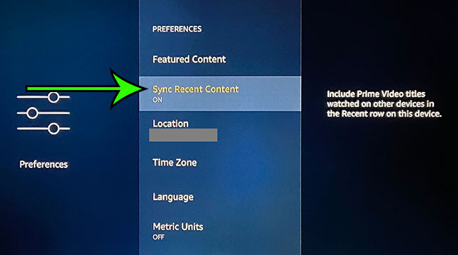 how to sync recent content from Amazon Prime on the Amazon Fire TV Stick