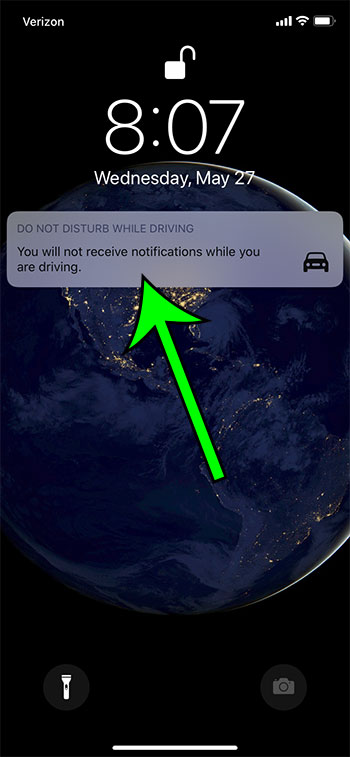 tap the Do Not Disturb While Driving notification