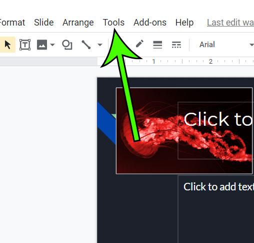 click the Tools tab