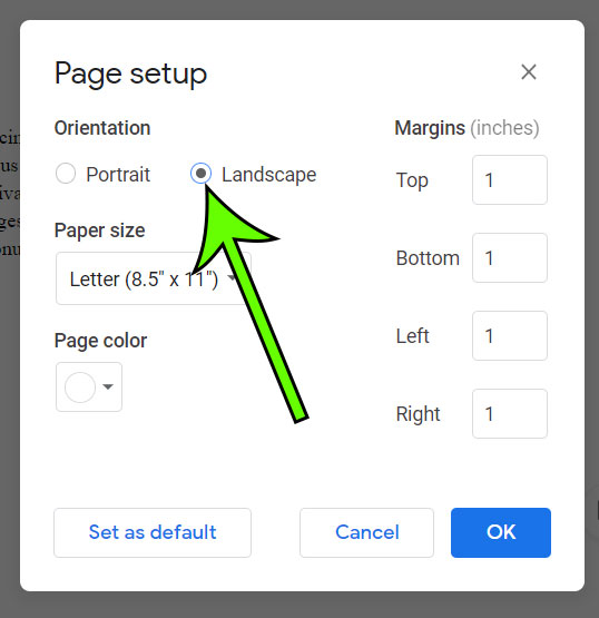 how to make Google Docs horizontal pages