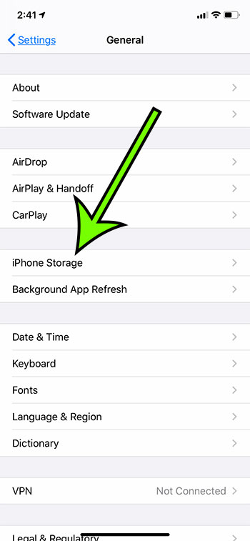 select the iPhone Storage option