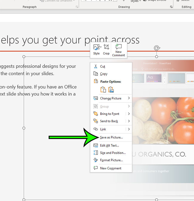 how to save a picture from a Powerpoint slide to your computer