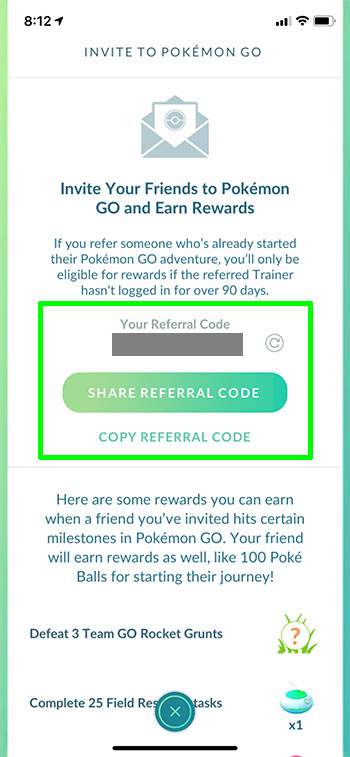 how to find your referral code in Pokemon Go on an iPhone