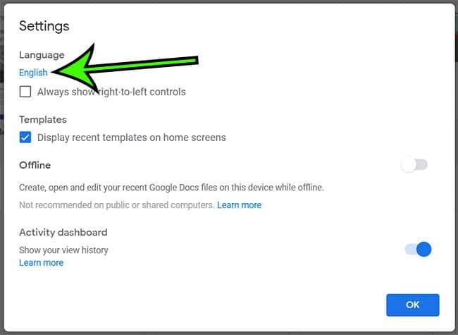 change the default Google Docs language