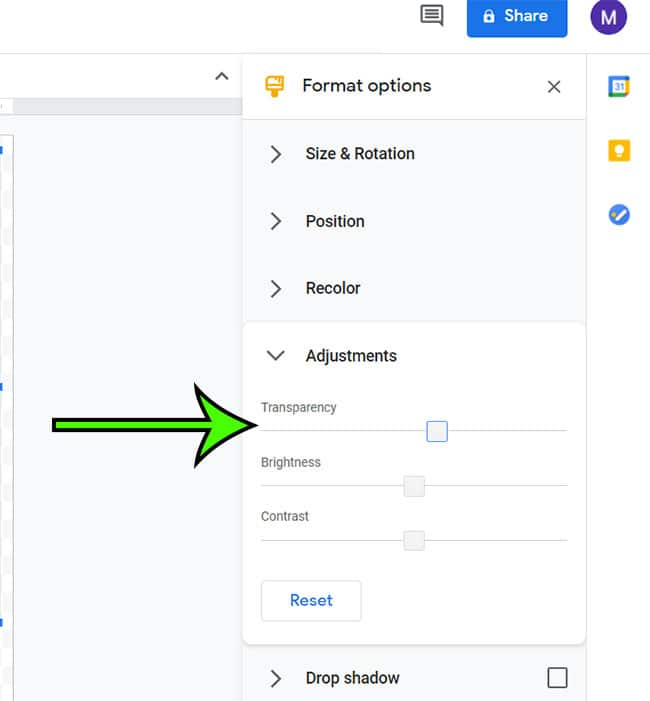 adjusting image transparency with Google Drawings