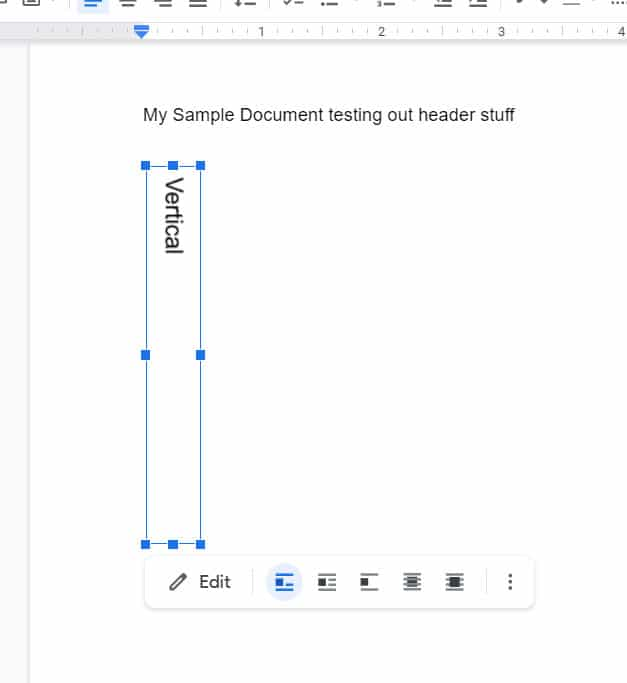 example of vertical text in a Google Docs document