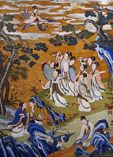 jade maidens gather in a wilderness garden  as the goddess flies in on a phoenix