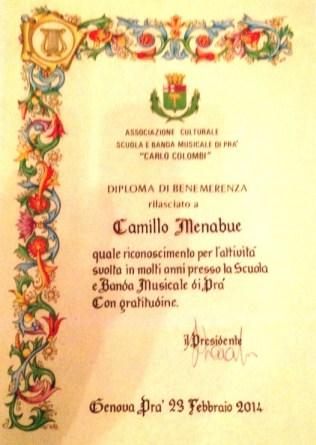 F Diploma di Benemerenza di Camillo Menabue
