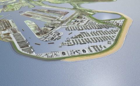 Maasvlakte 2 - Vista aerea con la nuova spiaggia