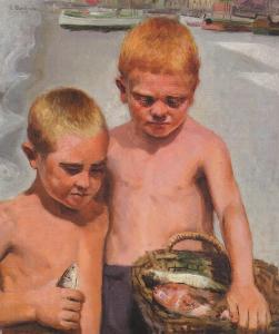 Lupetti di Mare tela di Evasio Montanella 1933