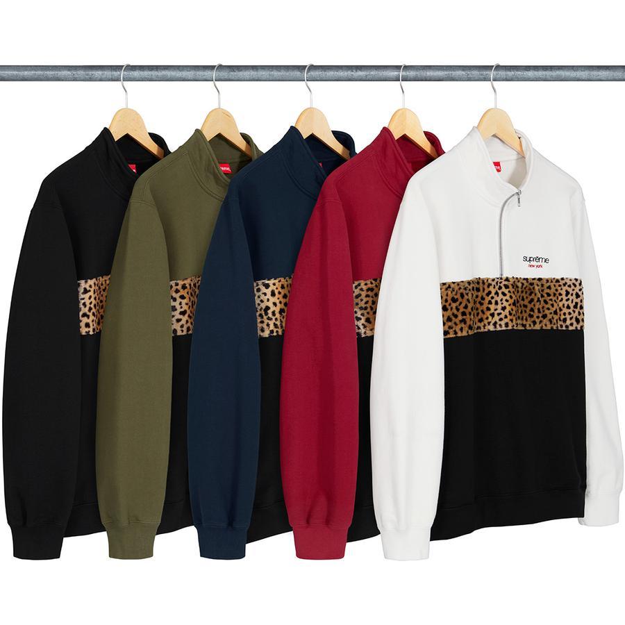 Leopard Panel Half Zip Sweatshirt