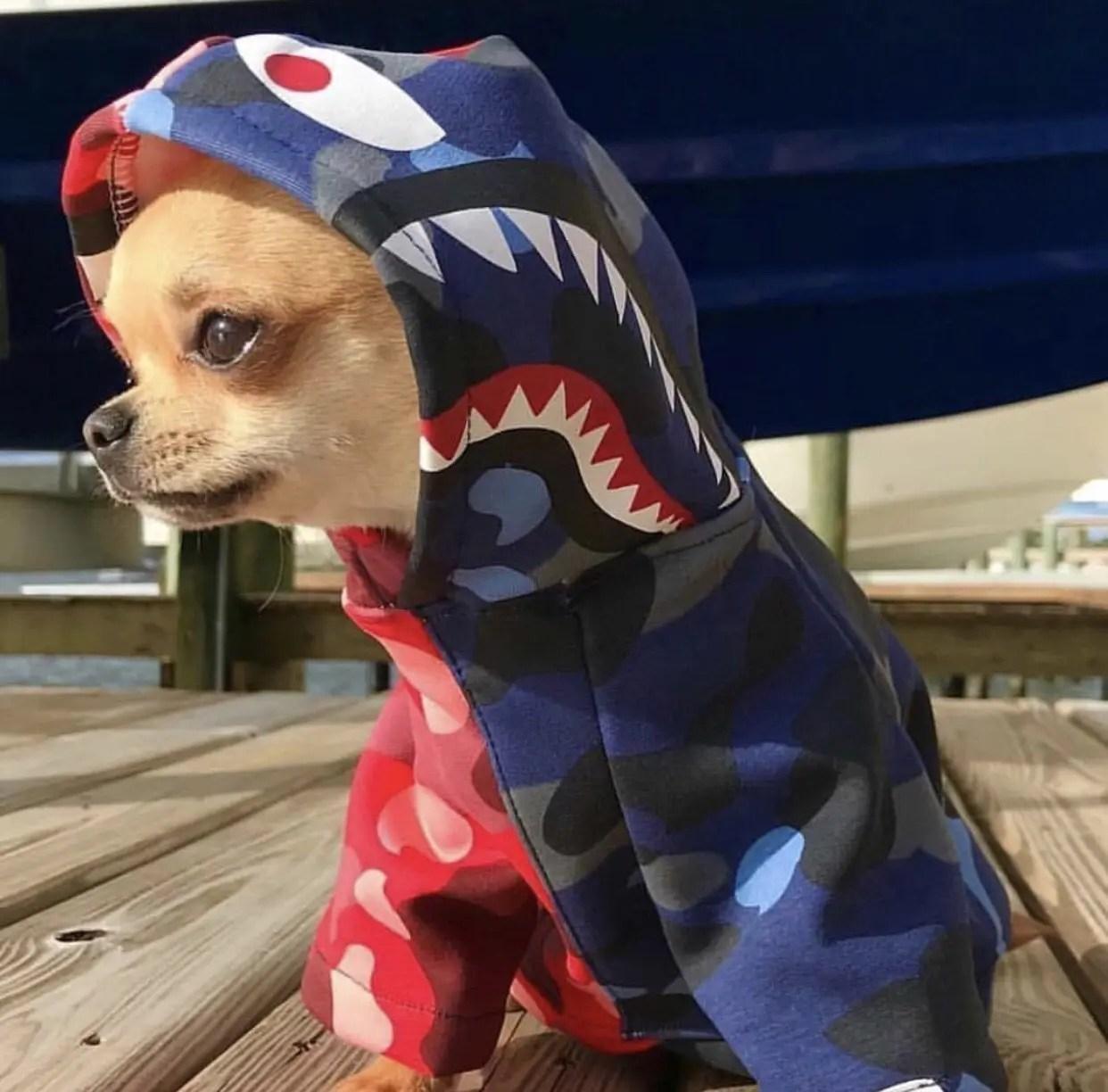 Barking Pup Half n Half Camo Shark Dog Hoodie
