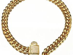 Pad Lock Gold Cuban Link Dog Chain