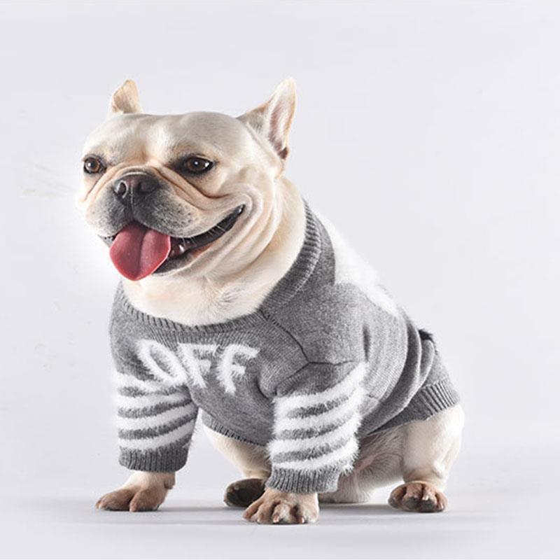 Woof-White Knit Dog Sweater