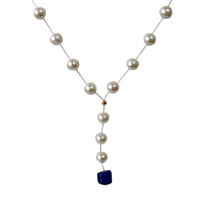 Single Line Invisible Strand Shell Pearl Necklace with