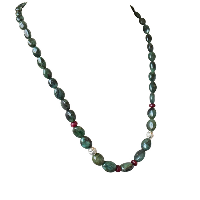 Single Line Real Oval Green Emerald, Red Ruby Beads