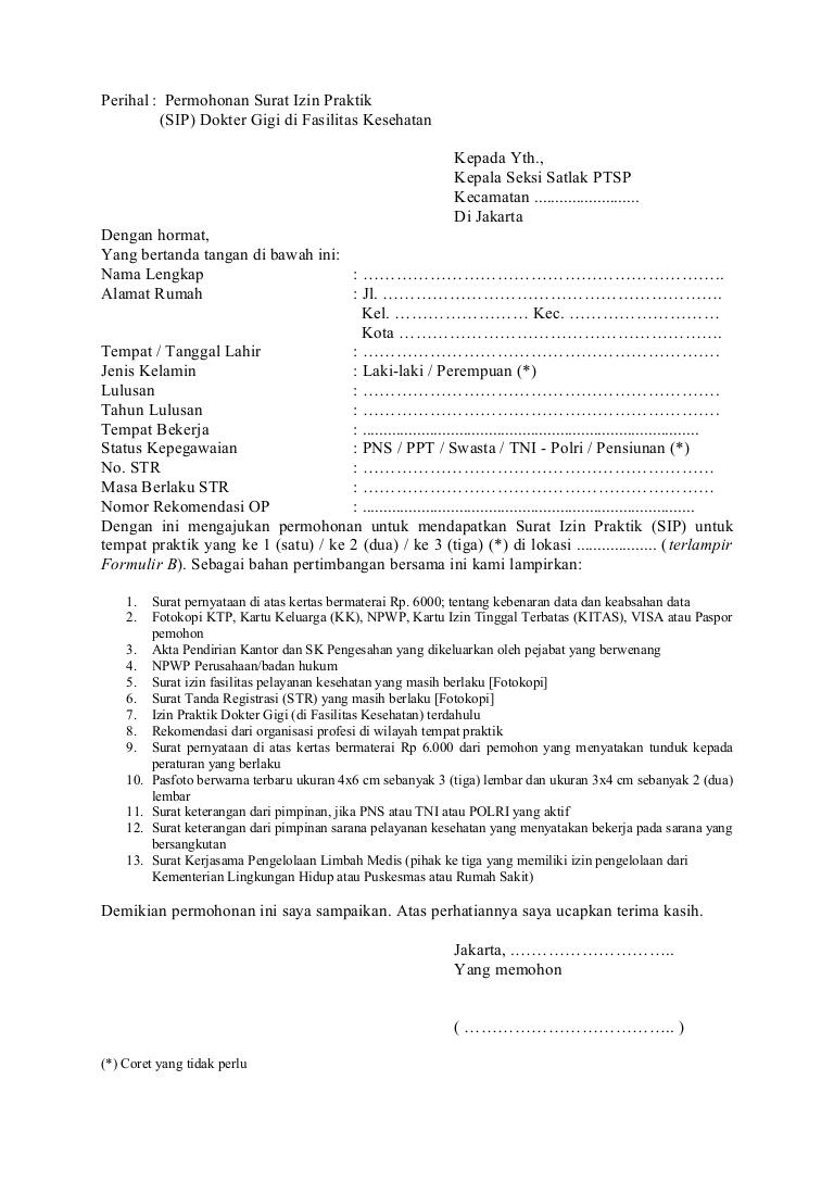 11. Contoh Surat Permohonan Praktek Dokter