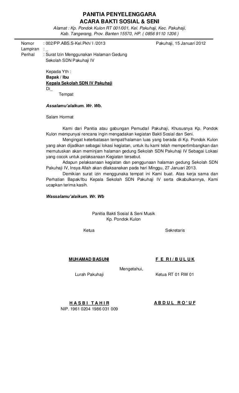 3.Contoh Surat Permohonan Izin Penggunaan Tempat