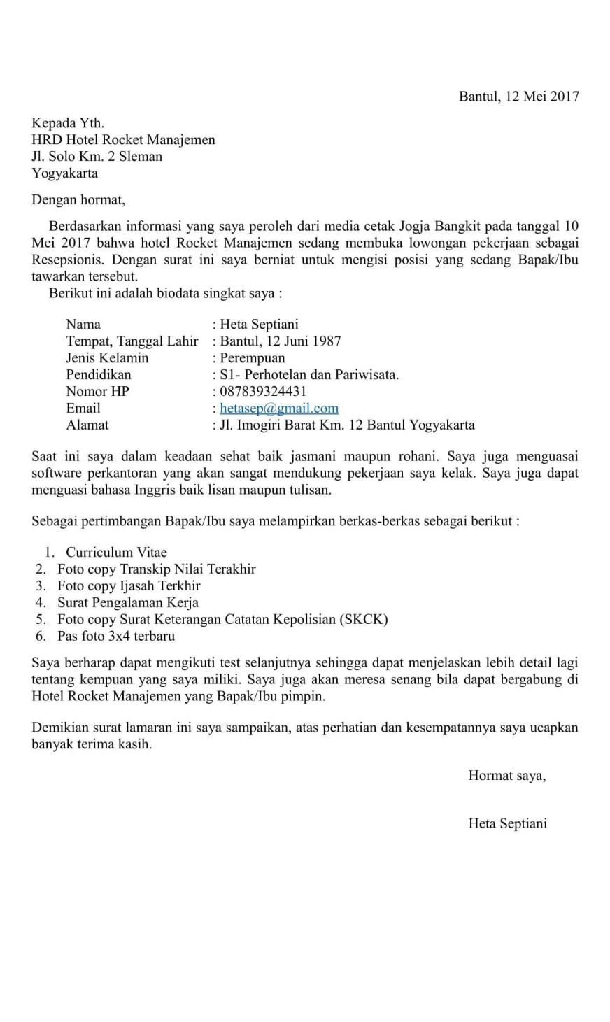 48 Contoh Surat Lamaran Kerja Ob Bank