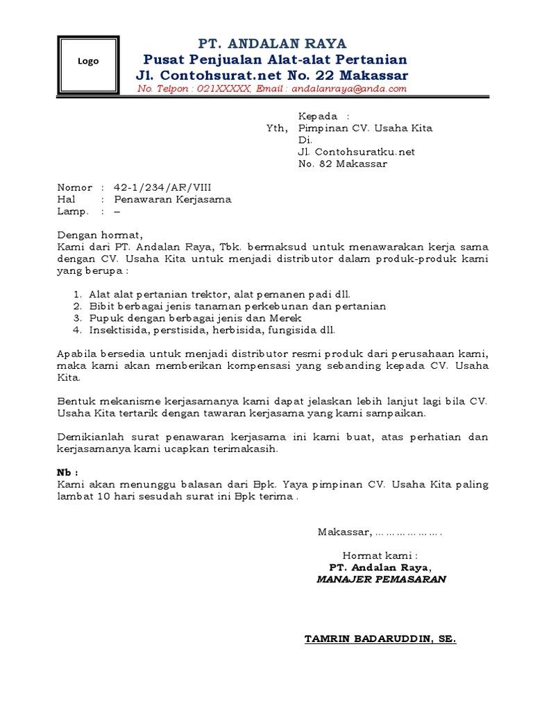 7. Contoh Surat Penawaran Kerjasama