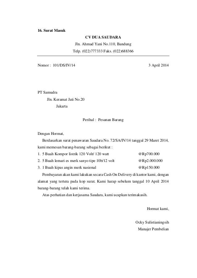 16 Contoh Surat Pesanan Barang Terbaru Dan Terlengkap Contoh Surat