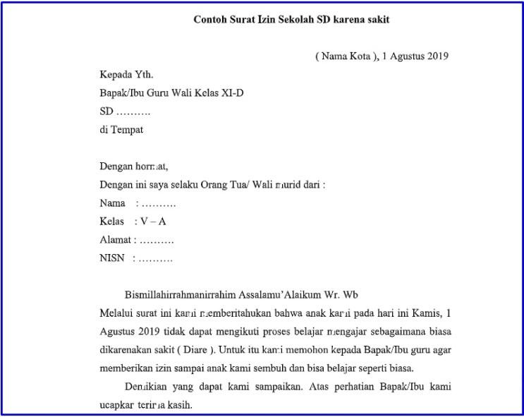 11. Contoh Surat Izin Tidak Masuk Sekolah SD