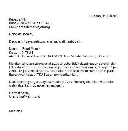 12. Contoh Surat Izin Tidak Masuk Sekolah