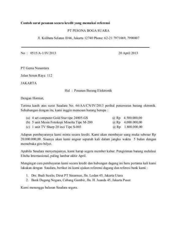 6. Contoh Surat Pesanan Kue