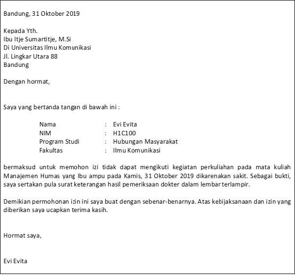 6. Contoh Surat Sakit Kuliah