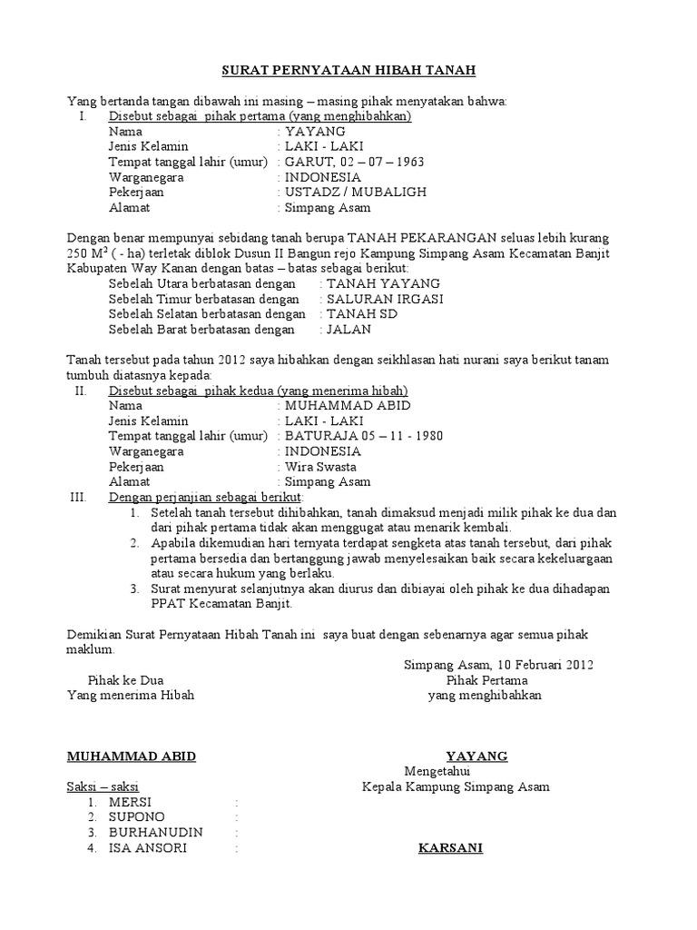 7. Contoh Surat Hibah Tanah Untuk Jalan