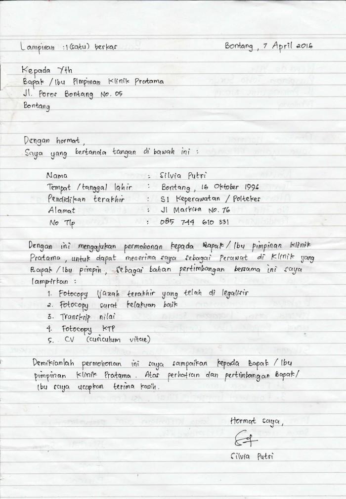 8. Contoh Surat Lamaran Pekerjaan Tulis Tangan